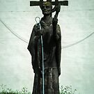 Monument to St Cuthbert Holy Isle Lindisfarne Northumbria England 198405290022 by Fred Mitchell