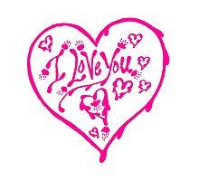 I Love You Pink Valentine Heart 12 Photographic Print