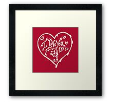I Love You White  Valentine Heart 12 Framed Print