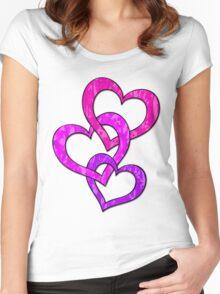 Triple Heart Valentine Women's Fitted Scoop T-Shirt