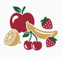 Fruits apple banana lemon strawberry by Designzz