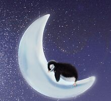 Penguin on an icy moon by DonkeyPenguin