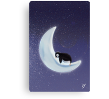 Penguin on an icy moon Canvas Print