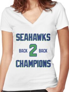 SEATTLE SEAHAWKS BACK 2 BACK SUPER BOWL CHAMPIONS Women's Fitted V-Neck T-Shirt