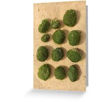 Green balls washed up on the beach ......... Greeting Card