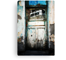 Door And Reflection In Flaking Paint Canvas Print
