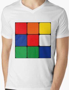 Multicolored Cube Design Mens V-Neck T-Shirt