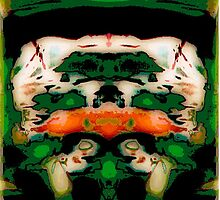 Flipped Photo, green, orange, white, abstract original by ackelly4