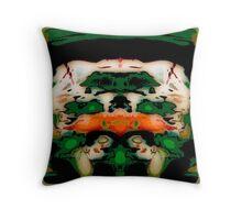 Flipped Photo, green, orange, white, abstract original Throw Pillow