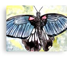 Butterfly macro watercolor painting Canvas Print