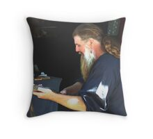 Carving a Walking Stick  Throw Pillow