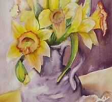 Daffodils and Sea Shells II by Marsha Woods