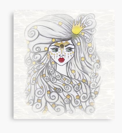The girl and the golden beads. Canvas Print