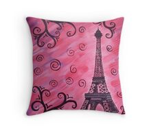 Eiffel Tower in Pink Throw Pillow
