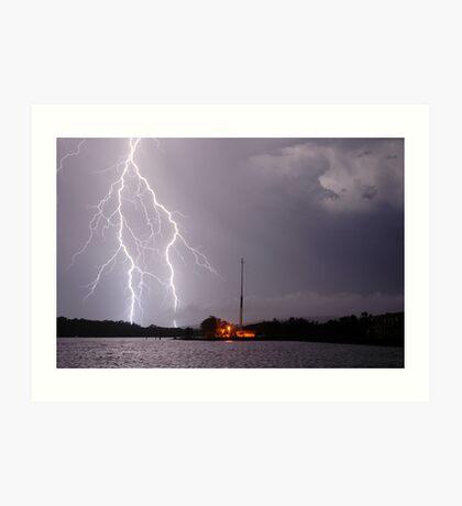 Ballina Ferry Lightning Art Print