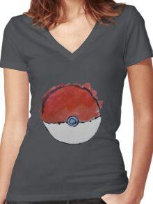 Scribble Pokeball Women's Fitted V-Neck T-Shirt