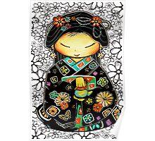 Little Multicolour Teapot Floral  Poster