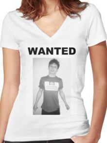 Jack O'Connell WANTED  Women's Fitted V-Neck T-Shirt