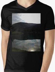 Water Mountain Reflexion Mens V-Neck T-Shirt