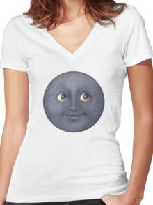 Moon Emoji Women's Fitted V-Neck T-Shirt