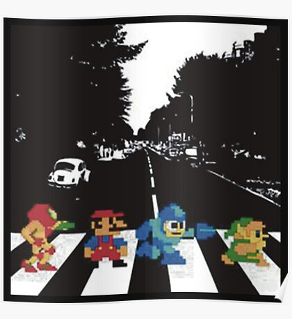 beatles nintndo mash up Poster
