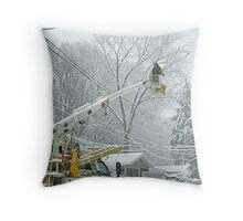 Working In Spite Of The Storm Throw Pillow