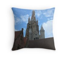 Blue sky Brugge Throw Pillow