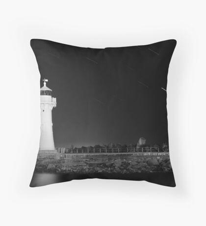 Lighthouse Startrails Throw Pillow