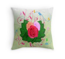 Roses and Swirls Throw Pillow