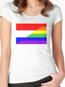 gay flag netherlands Women's Fitted Scoop T-Shirt