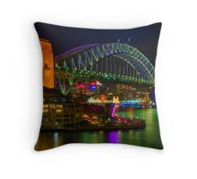 Vibrant Sydney Harbour Bridge Throw Pillow