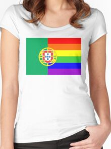 gay flag portugal Women's Fitted Scoop T-Shirt