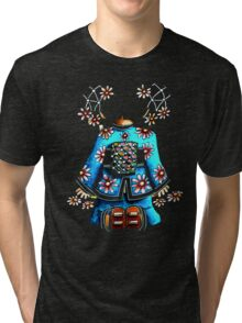 Asia Blue on Black TShirt by Karin Taylor Tri-blend T-Shirt
