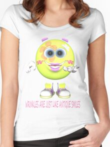 WRINKLES ARE LIKE ANTIQUE SMILES.. Women's Fitted Scoop T-Shirt
