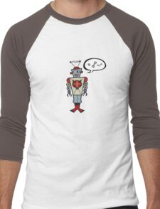 Robot Talking Nuts and Bolts Men's Baseball ¾ T-Shirt