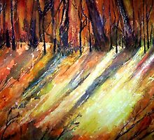 LION WOOD-TREES IN AUTUMN by ANNETTE HAGGER
