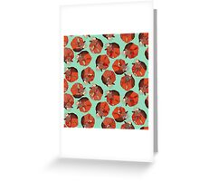 curled fox polka mint Greeting Card