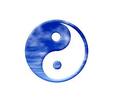 Blue Sky With Clouds Yin Yang Symbol by TigerLynx