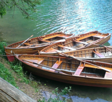 Braies Lake with Rowboats Sticker