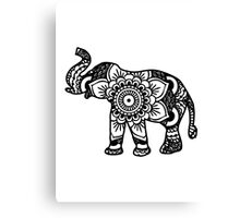 Mandala Elephant Black Canvas Print