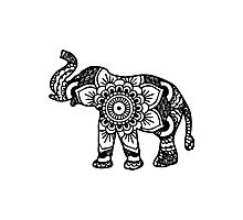 Mandala Elephant Black Photographic Print
