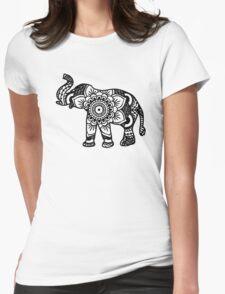 Mandala Elephant Black Womens Fitted T-Shirt
