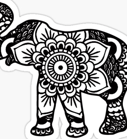 Mandala Elephant Black Sticker