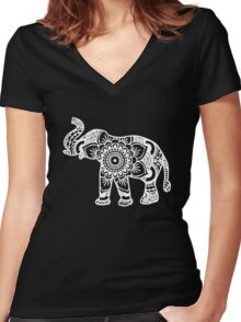 Mandala Elephant White Women's Fitted V-Neck T-Shirt