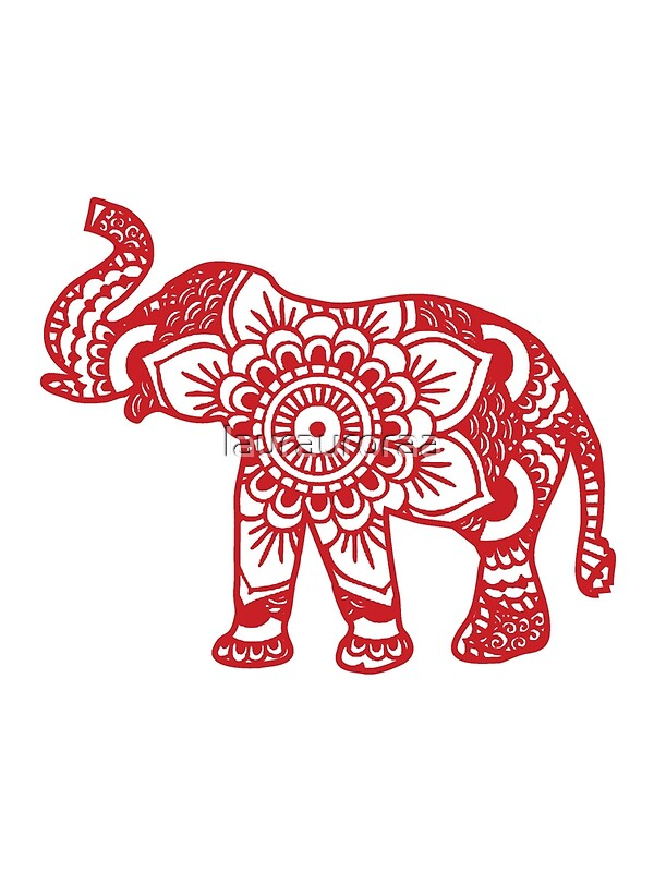Quot Mandala Elephant Red Quot By Laurauroraa Redbubble