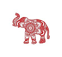 Mandala Elephant Red Photographic Print