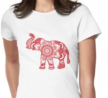 Mandala Elephant Red Womens Fitted T-Shirt