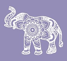 Mandala Elephant White by laurauroraa