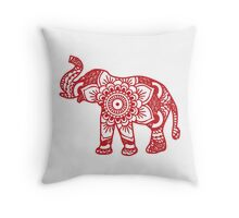 Mandala Elephant Red Throw Pillow
