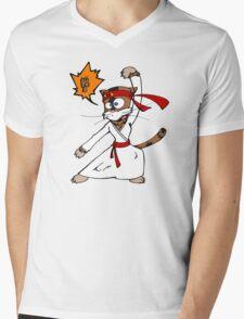 Karatéchat Mens V-Neck T-Shirt